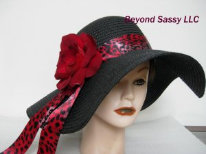 Red Leopard Band Kentucky Derby Church Wedding Black Floppy Hat w/ Swarovski crystal Flower
