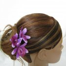 3pc PURPLE Wedding Bridal Bridal Prom Orchid flower bobby pins hair clips