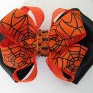 Girls Halloween Spider Web Rhinestone Hair Bow Barrette Orange Black