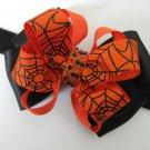 Girls Halloween Orange Black Rhinestone Spider Web Hair Bow Headband