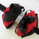 Holiday 2-tone Red Black Elegant Boutique Rhinestone Hair Bow XMAS Headband