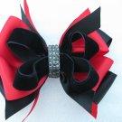 Girls XMAS Holiday Elegant Rhinestone BLACK RED Boutique Hair Bow Clip Barrette