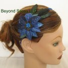 Girls Ladies XMAS Swarovski Crystal Royal Blue Poinsettia Flower Feather Ribbon Headband
