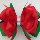 Girls Christmas Holiday Elegant Boutique Hair Bow Clip RED GREEN