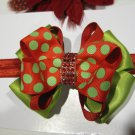 Girls Christmas Holiday Glitter Dots Bling Boutique Hair Bow Headband Lime Red