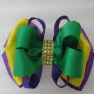 Girls Mardi Gras Elegant Boutique Rhinestone Hair Bow Clip Barrette