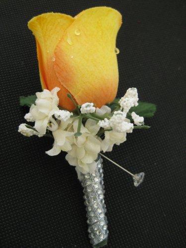 YELLOW Wedding Groom Rose Bud Silk Flower Boutonniere Crystal Rhinestone Bling Stem