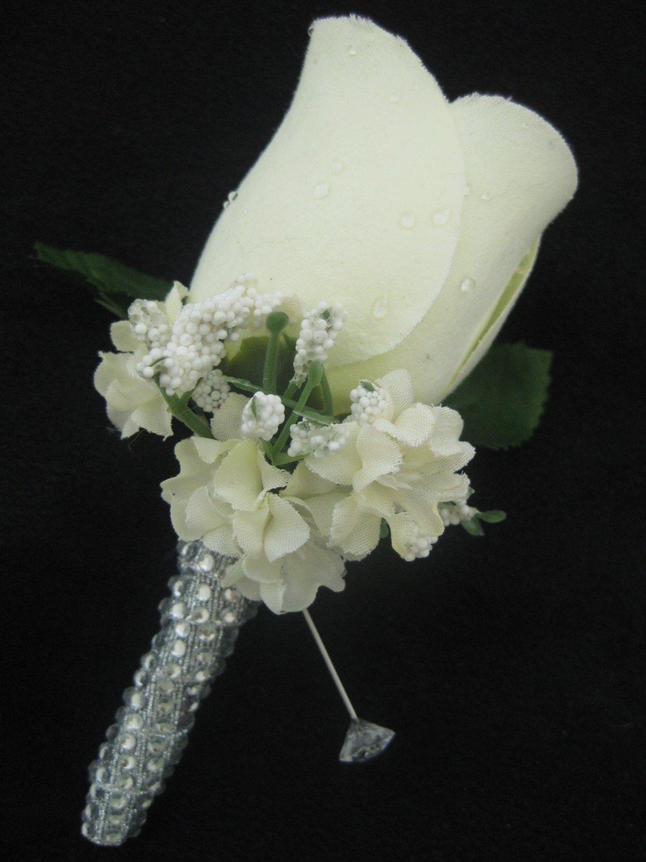 Cream Ivory Wedding Groom Rose Bud Silk Flower Boutonniere