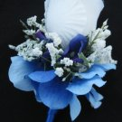 Satin Wrap Stem White Rose Blue Hydrangea Flower Boutonniere