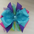 Girls Large Christmas Boutique Hair Bow Barrette Clip Green Pink Purple Blue