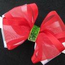 Baby Girl Christmas Holiday RED GREEN Sheer Organza Glitz Hair Bow Headband or Clip