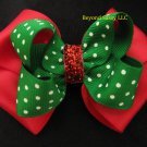 Christmas Holiday Red Green Polka Dot Glitz Hair Bow Lace Headband