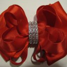 Holiday Christmas Red Elegant Boutique Rhinestone Hair Bow Headband