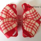 Girls Christmas Valentines Day Red Plaid Bling Hair Bow Clip Barrette