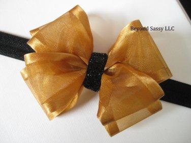 Baby Girl Christmas Holiday Black Gold Sheer Organza Glitz Hair Bow Headband or Clip
