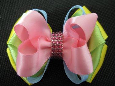 Girls Easter Elegant Boutique Rhinestone Hair Bow Clip Barrette