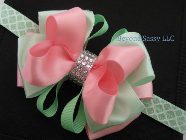 Girls Easter Mint Green Pink Boutique Rhinestone Hair Bow Headband Clip