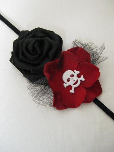 Halloween Black Red Gothic Skull Flower Rosette Skinny Headband