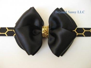 Girls Christmas Black Satin Glitz Hair Bow Metallic Gold Honeycomb Headband