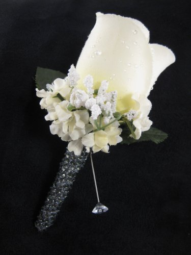 CREAM Pewter Grey Wedding Groom Rose Bud Silk Flower Boutonniere Crystal Rhinestone Bling Stem