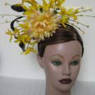 Yellow Black Feather Flower Kentucky Derby Fascinator Hair Headpiece Headband