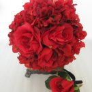2pc Wedding Red Black Bridal Silk Rose Flower Bouquet Boutonniere Set