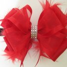Girls Christmas Holiday Rhinestone Feather Boutique RED Hair Bow Headband