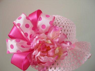 Flower Girl Wedding Easter Bonnet Tea Party Polka Dot Pink Floral Straw Hat