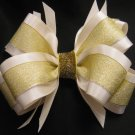 Wedding Flower Girl XMAS Elegant Ivory Gold Glitter Boutique Hair Bow Barrette Clip