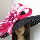 Two tone Pink Fuchsia Bow Jeweled Flower Black Kentucky Derby Easter Wide Brim Mesh Hat