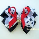 Girls July 4th Patriotic Red Navy Star Rhinestone Hair Bow Clip Barrette