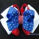 Girls Red White Royal Blue Polka Dot Rhinestone Hair Bow Clip Barrette