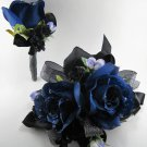 Wedding Prom Metallic Black Navy Rose Flowers Wrist Corsage Boutonniere Set