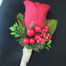 Winter Wedding Red Rose Flower and Berries Rustic Boutonniere