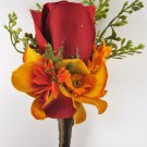 Fall Wedding Rustic Orange Red Rose Silk Flower Boutonniere