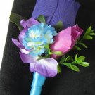 Island Blue Wrap Stem Purple Wedding Prom Boutonniere Silk Rose Bud