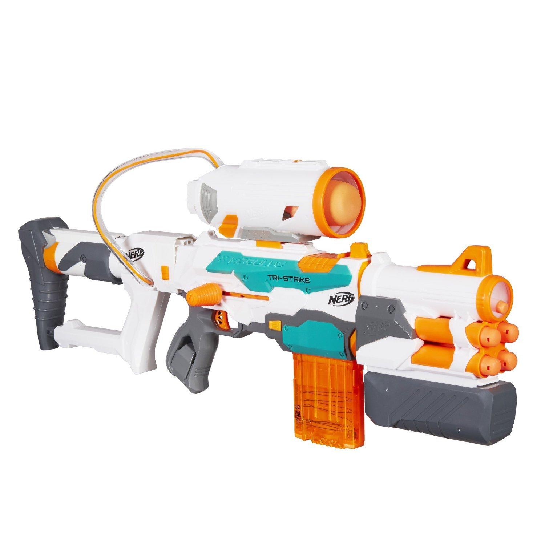 Nerf Modulus Tri-Strike blaster. Bring an entire arsenal to the battlefield. Very powerful.
