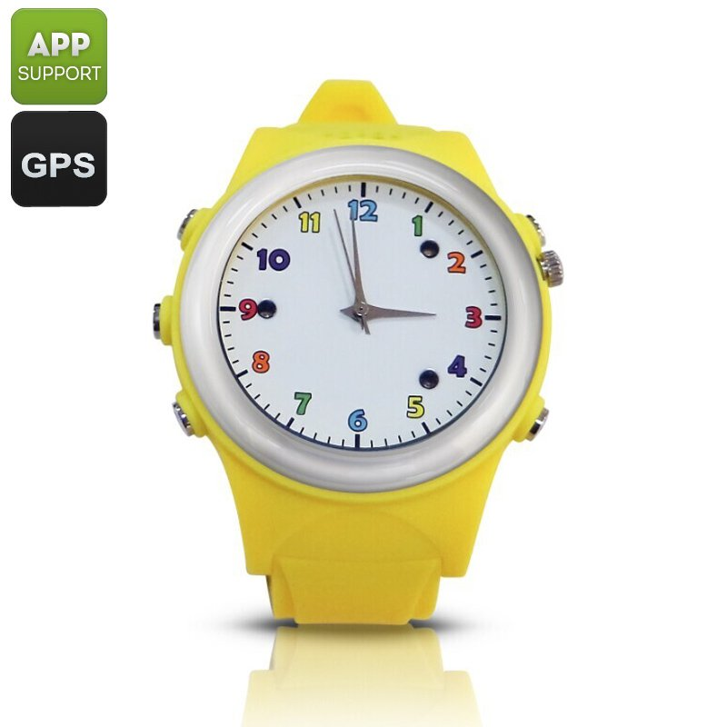 Child GPS Phonewatch - Wireless Charging, Digital Fence, Familiar Number, SOS, (Yellow)
