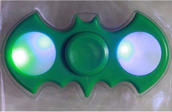 Batman Shaped Fidget Hand Spinner with LED Lights..Collect All Of The Fidget Friends. Green