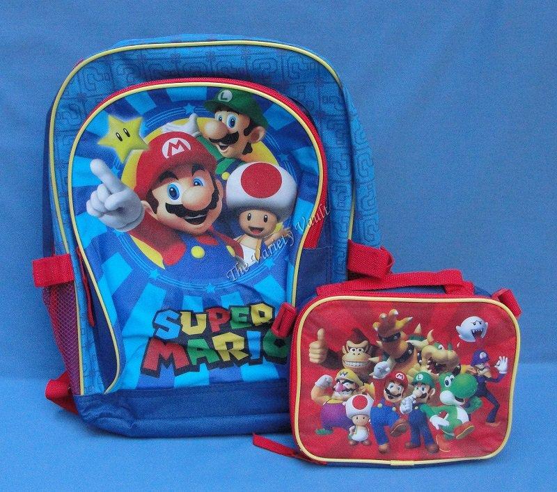 Super Mario Backpack Bookbag Luigi Yoshi Toad Donkey Kong Bowser