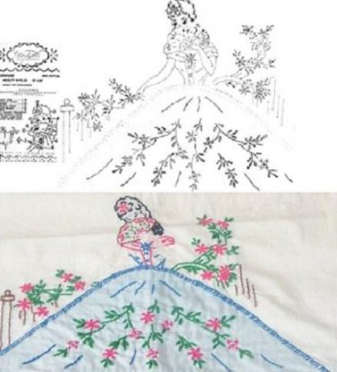 Southern Belle Pillowcase Applique Embroidery Transfer Pattern