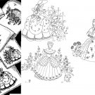 3 Southern Belle / Crinoline Lady with Dog embroidery transfer pattern mo5017