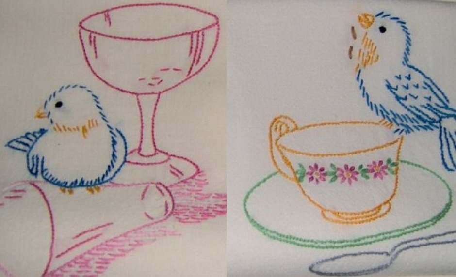 Birds and Dishes Towel embroidery transfer pattern LW676