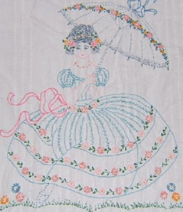1920s Southern Belle Bedspread Embroidery Transfer Pattern Rs12