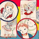Plump Chefs & Pert Misses / Maids embroidery transfer pattern V150