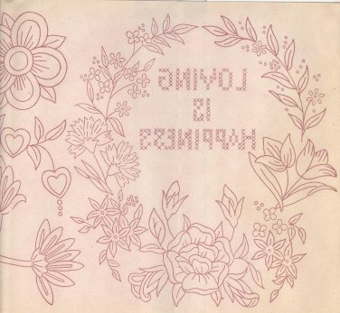 wbm transfer wreath Loving is Happiness,flowers