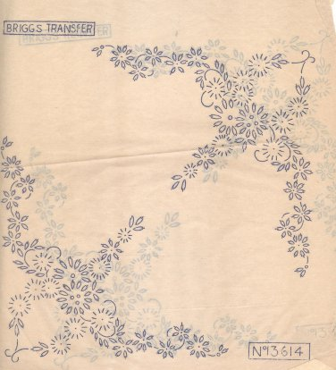 Two (2 x ) corner flower sprays embroidery transfers ORIG Briggs13614