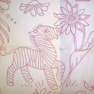 Workbasket transfer Jungle Animals with Flowers quilt,stuffed donkey toy, WB81