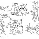 Mischief Kitten Towel embroidery transfer pattern mo654