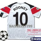 2011 MANCHESTER UNITED ROONEY 10 UEFA FINAL WEMBLEY LONDON DATE PATCH SHIRT JERSEY